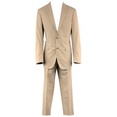 FACONNABLE 40 Long Khaki Solid Cotton 28 32 Notch Lapel Suit