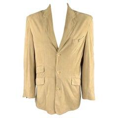 FACONNABLE Size L Khaki Suede Notch Lapel Coat