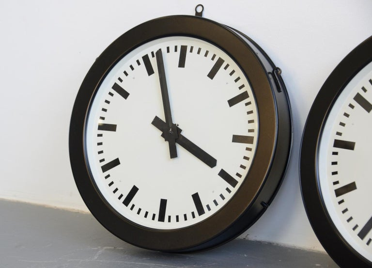 Industrial Factory Clocks by Bohmeyer, circa 1930s For Sale