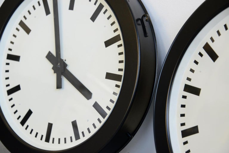 Factory Clocks by Bohmeyer, circa 1930s In Good Condition For Sale In Gloucester, GB