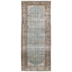 Faded Antique Persian Malayer Gallery Rug with All-Over Design in Blue and Taupe
