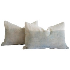 Faded Demin Acid Wash Colored Mud Cloth Pillows