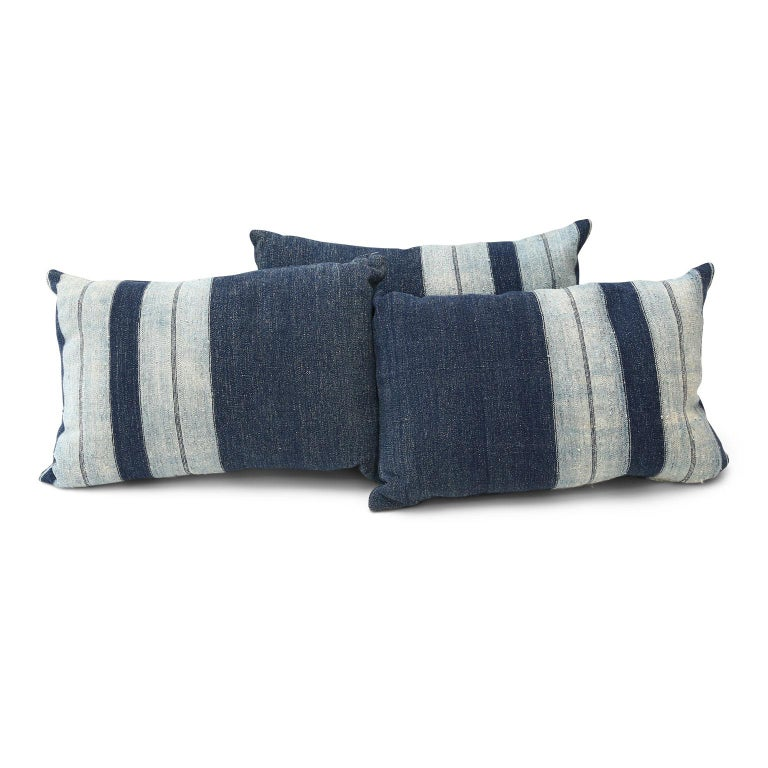 Hand-Woven Faded Indigo Cushions For Sale