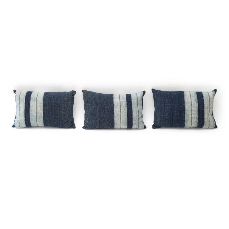 Faded Indigo Cushions In Good Condition For Sale In Houston, TX