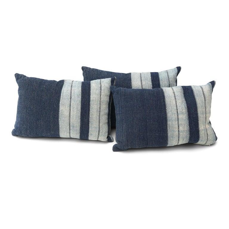 Cotton Faded Indigo Cushions For Sale