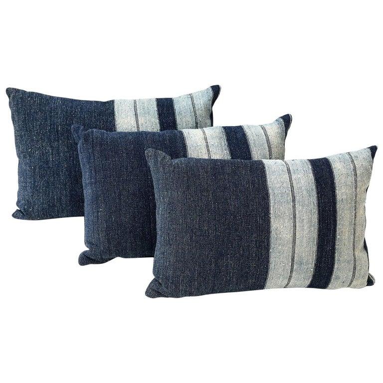 Faded Indigo Cushions For Sale