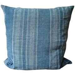 Faded Indigo Stripe Linen Pillow French 19th Century