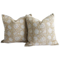 Faded Mustard and Natural Linen Hand Blocked Accent Pillow