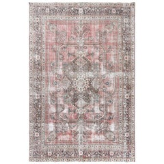 Faded Red Persian Tabriz Old Sheared Low Shabby Chic Oriental Rug