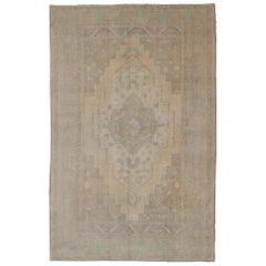 Faded Turkish Oushak with Medallion with Muted Colors of Tan, Muted Light Peach