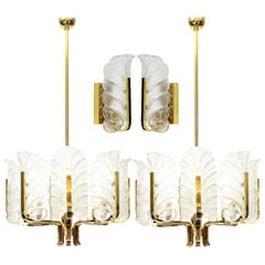 Fagerlund Set of Four Leaves Brass Light Fixtures by Orrefors, 1960s, Sweden
