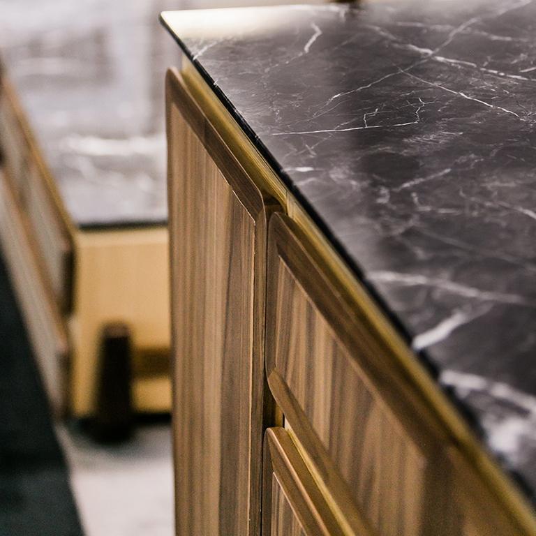 Art Deco Fai Credenza M01 Contemporary Cabinet Walnut Oak Marble Counter Made in Italy For Sale