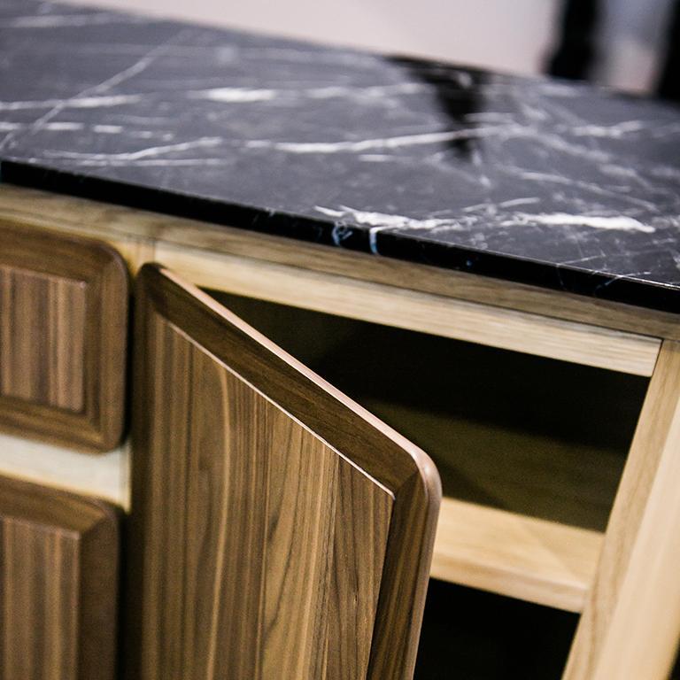 Italian Fai Credenza M01 Contemporary Cabinet Walnut Oak Marble Counter Made in Italy For Sale