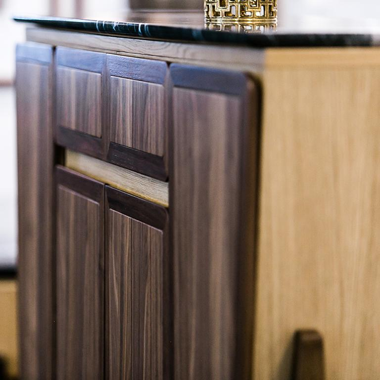 Polished Fai Credenza M01 Contemporary Cabinet Walnut Oak Marble Counter Made in Italy For Sale