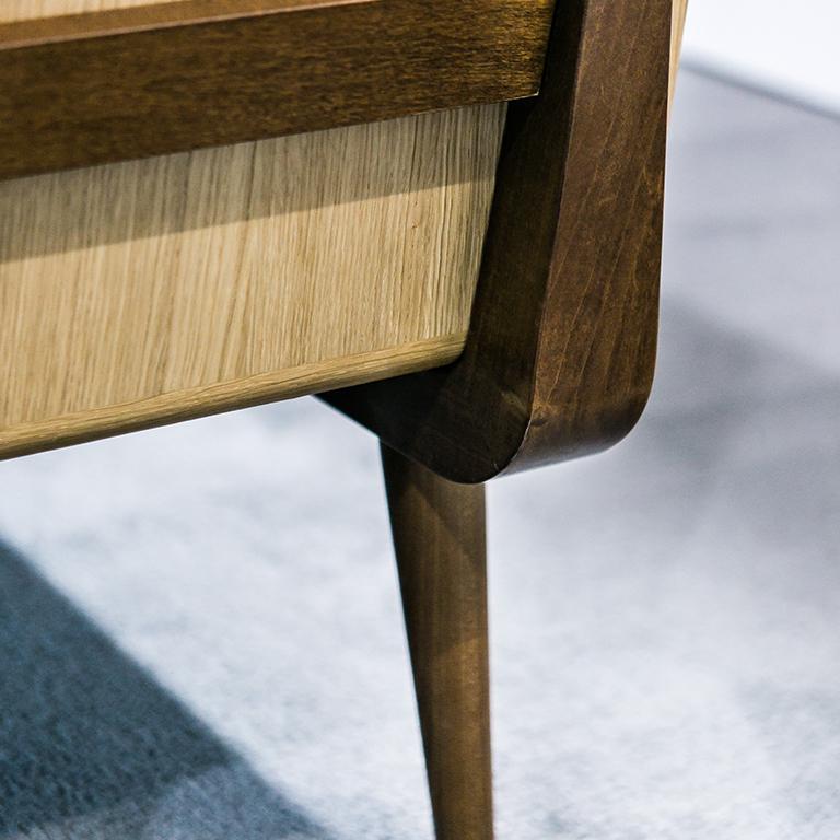 Fai Credenza M01 Contemporary Cabinet Walnut Oak Marble Counter Made in Italy In New Condition For Sale In Toronto, CA