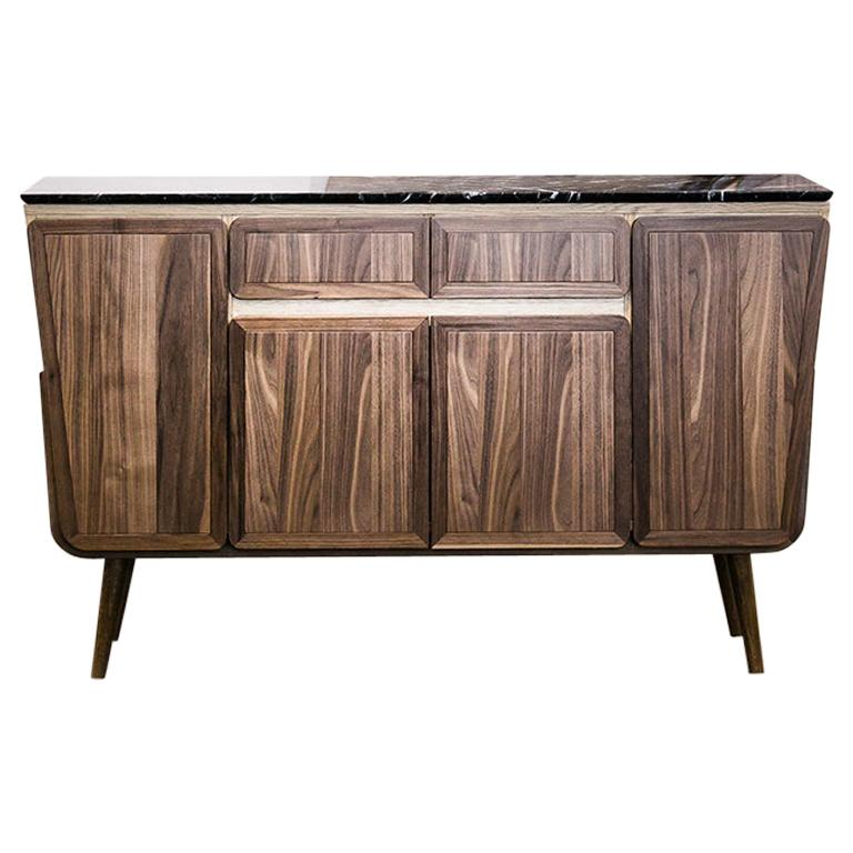 Fai Credenza M01 Contemporary Cabinet Walnut Oak Marble Counter Made in Italy For Sale