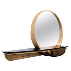 Fai Entryway Mirror M01 Contemporary Walnut Oak and Marble Counter Made in Italy