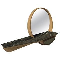 Fai Entryway Mirror M03 Contemporary Walnut Oak & Marble Counter, Made in Italy