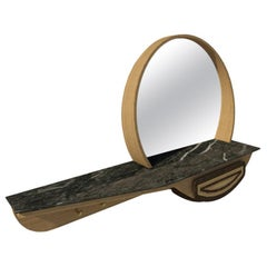 Fai Entryway Mirror M05 Contemporary Walnut Oak Brass and Marble, Made in Italy