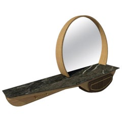 Fai Entryway Mirror M06 Contemporary Walnut Oak Brass and Marble Made in Italy