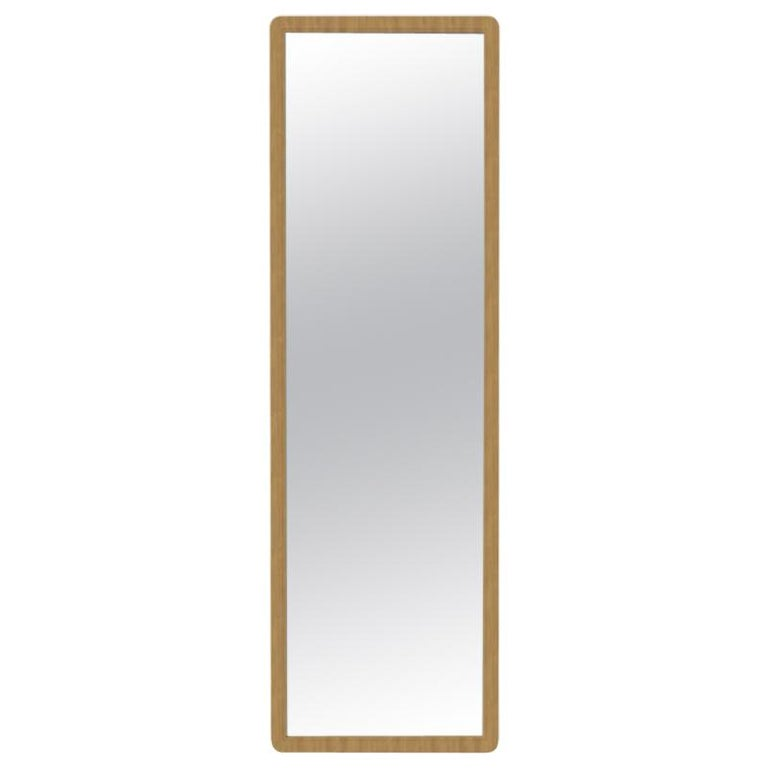 Fai Large Mirror M01 Slim Size, Contemporary Oakwood Handcrafted in Italy For Sale