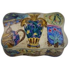 Faience Embossed Ceramic Box