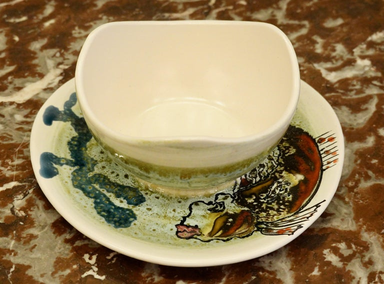 14 Piece Faience Fish Service with Hand-Painted Shellfish from Brittany For Sale 6