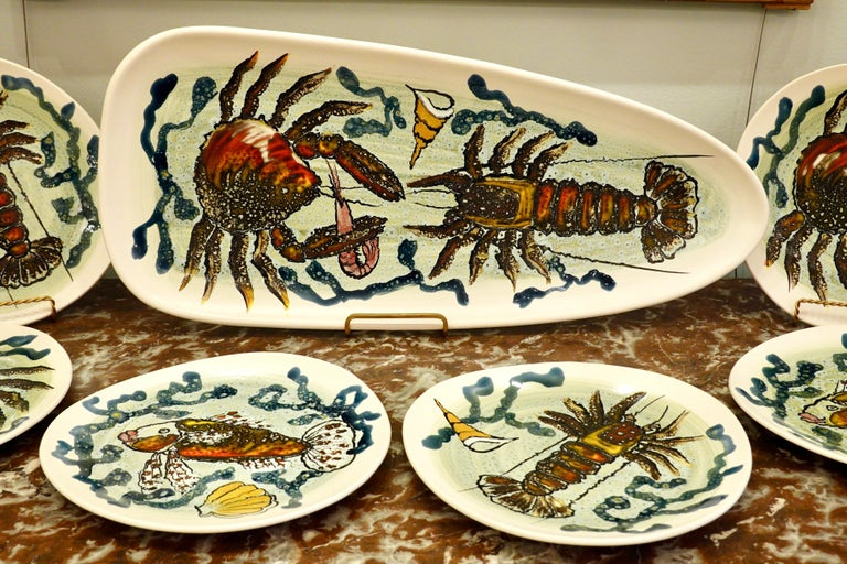 Mid-Century Modern 14 Piece Faience Fish Service with Hand-Painted Shellfish from Brittany For Sale