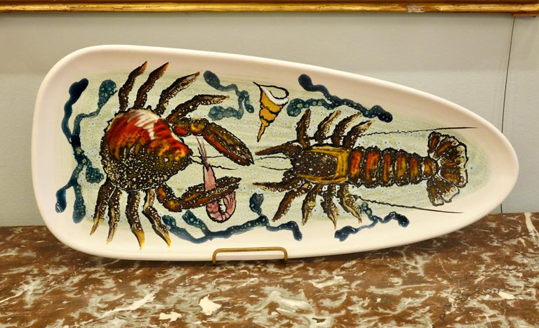 French 14 Piece Faience Fish Service with Hand-Painted Shellfish from Brittany For Sale