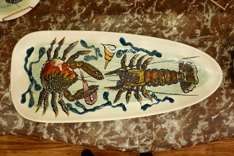 14 Piece Faience Fish Service with Hand-Painted Shellfish from Brittany In Good Condition For Sale In Charleston, SC