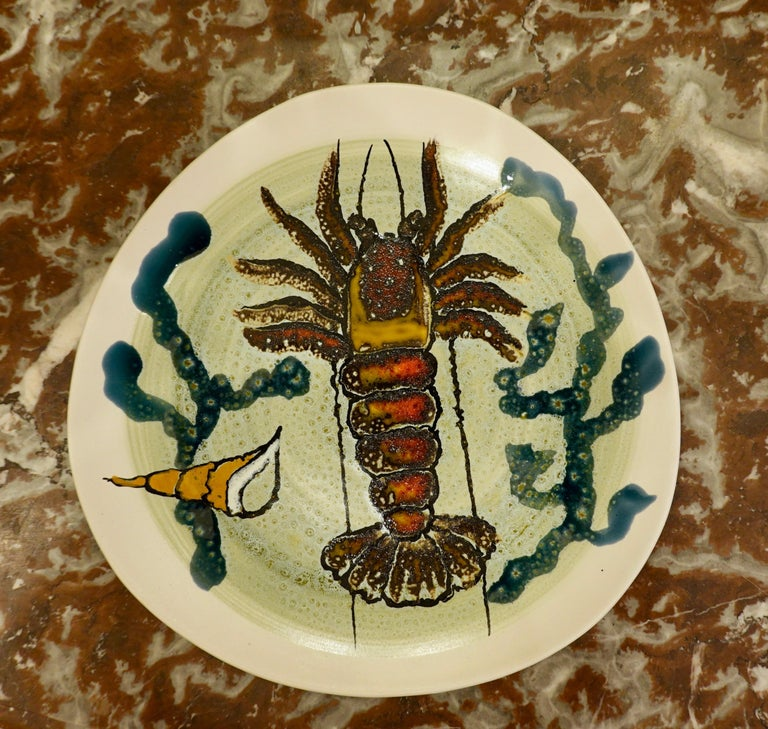 20th Century 14 Piece Faience Fish Service with Hand-Painted Shellfish from Brittany For Sale