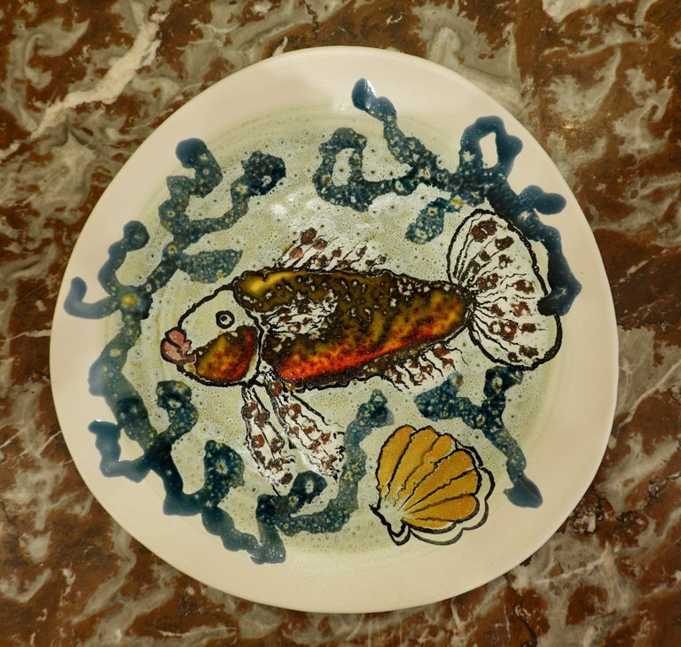14 Piece Faience Fish Service with Hand-Painted Shellfish from Brittany For Sale 1
