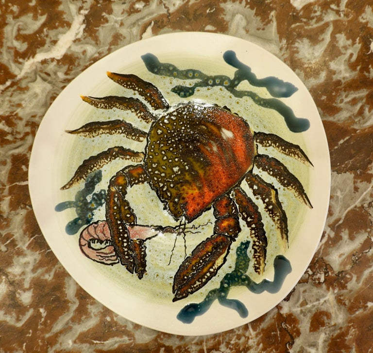 14 Piece Faience Fish Service with Hand-Painted Shellfish from Brittany For Sale 2