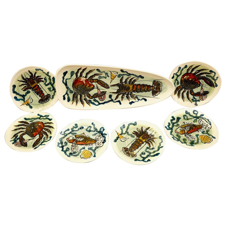 14 Piece Faience Fish Service with Hand-Painted Shellfish from Brittany For Sale