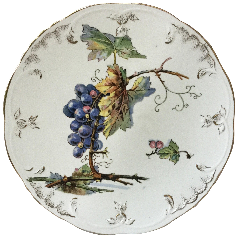Faience Grapes Plate Villeroy & Boch, circa 1900