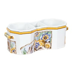 Faïence Tiffany & Co Wine Cooler Hand Painted with Floral Motifs in France