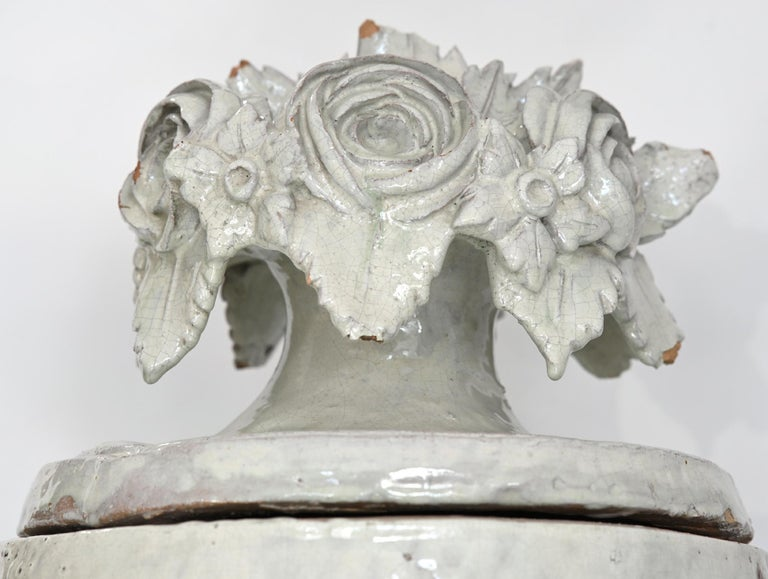 Faience Vase with Top, German, circa 1780 Louis Seize, Decorative White Glaze For Sale 5