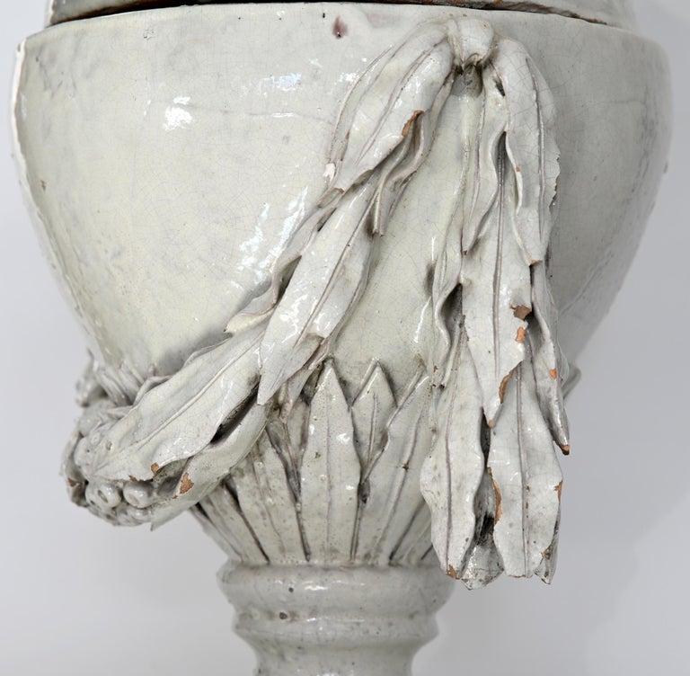 Faience Vase with Top, German, circa 1780 Louis Seize, Decorative White Glaze For Sale 6
