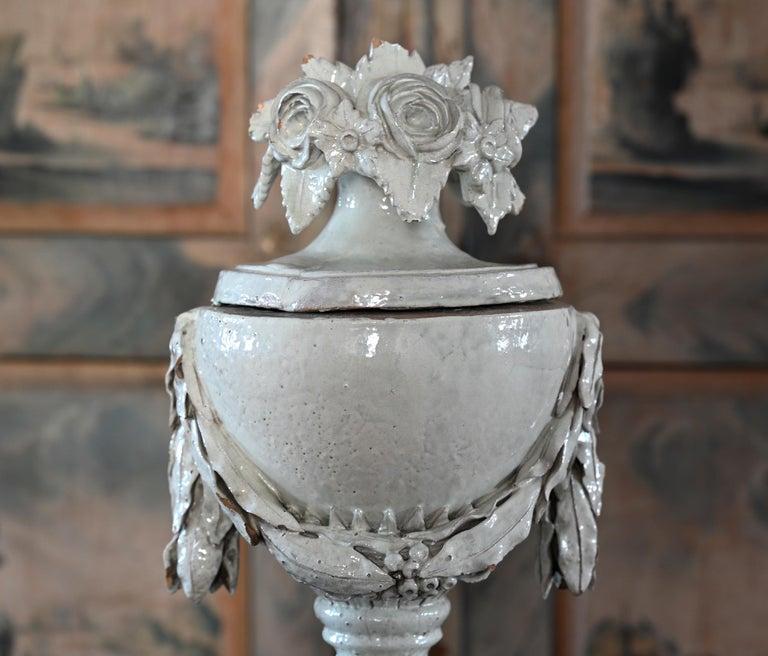 Louis XVI Faience Vase with Top, German, circa 1780 Louis Seize, Decorative White Glaze For Sale