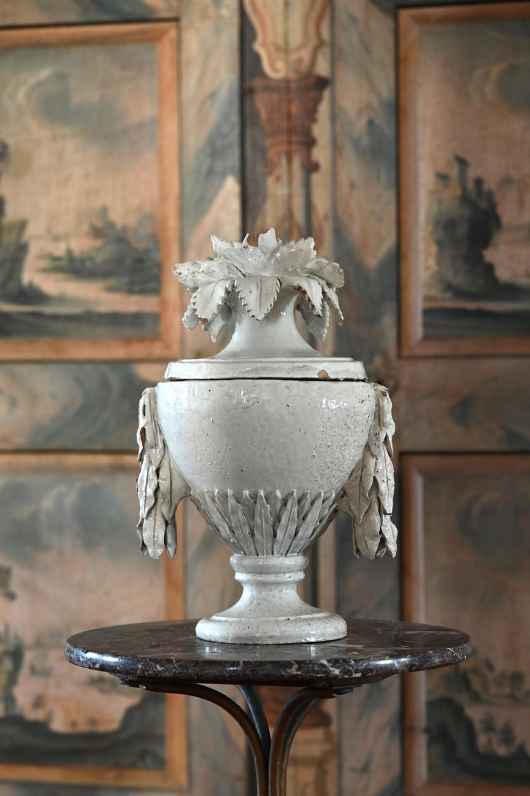 Faience Vase with Top, German, circa 1780 Louis Seize, Decorative White Glaze In Good Condition For Sale In Epfach, DE