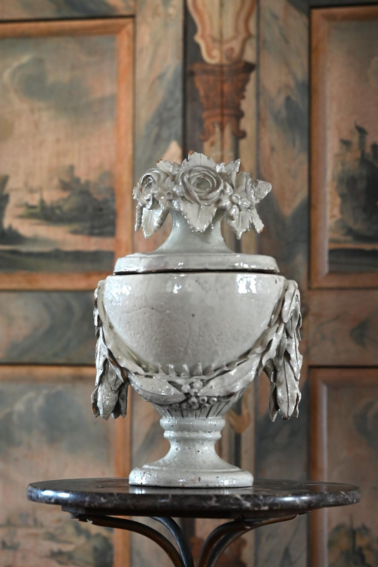 Late 18th Century Faience Vase with Top, German, circa 1780 Louis Seize, Decorative White Glaze For Sale