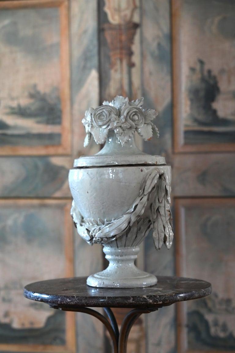 Faience Vase with Top, German, circa 1780 Louis Seize, Decorative White Glaze For Sale 1