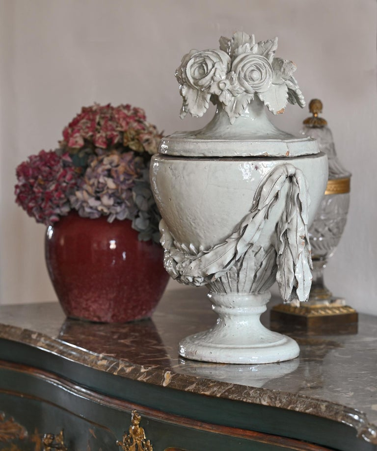 Faience Vase with Top, German, circa 1780 Louis Seize, Decorative White Glaze For Sale 2