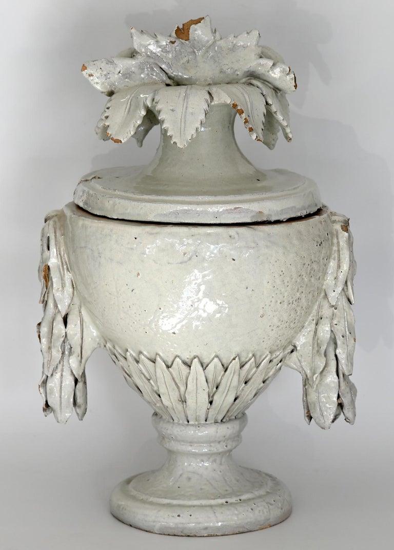 Faience Vase with Top, German, circa 1780 Louis Seize, Decorative White Glaze For Sale 3