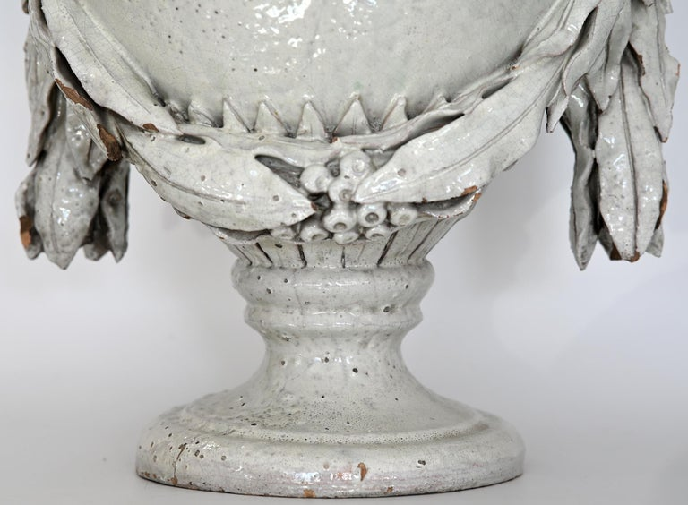 Faience Vase with Top, German, circa 1780 Louis Seize, Decorative White Glaze For Sale 4