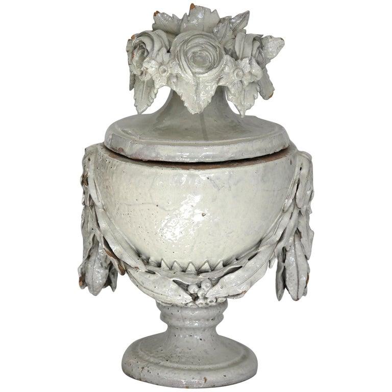 Faience Vase with Top, German, circa 1780 Louis Seize, Decorative White Glaze For Sale