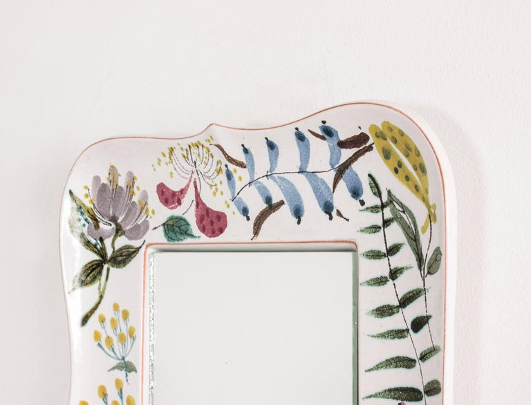 Scandinavian Modern Faience Wall Mirror by Stig Lindberg For Sale