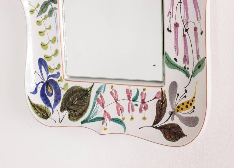Swedish Faience Wall Mirror by Stig Lindberg For Sale