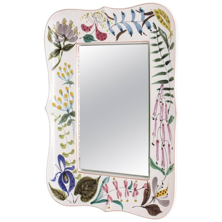 Faience Wall Mirror by Stig Lindberg For Sale