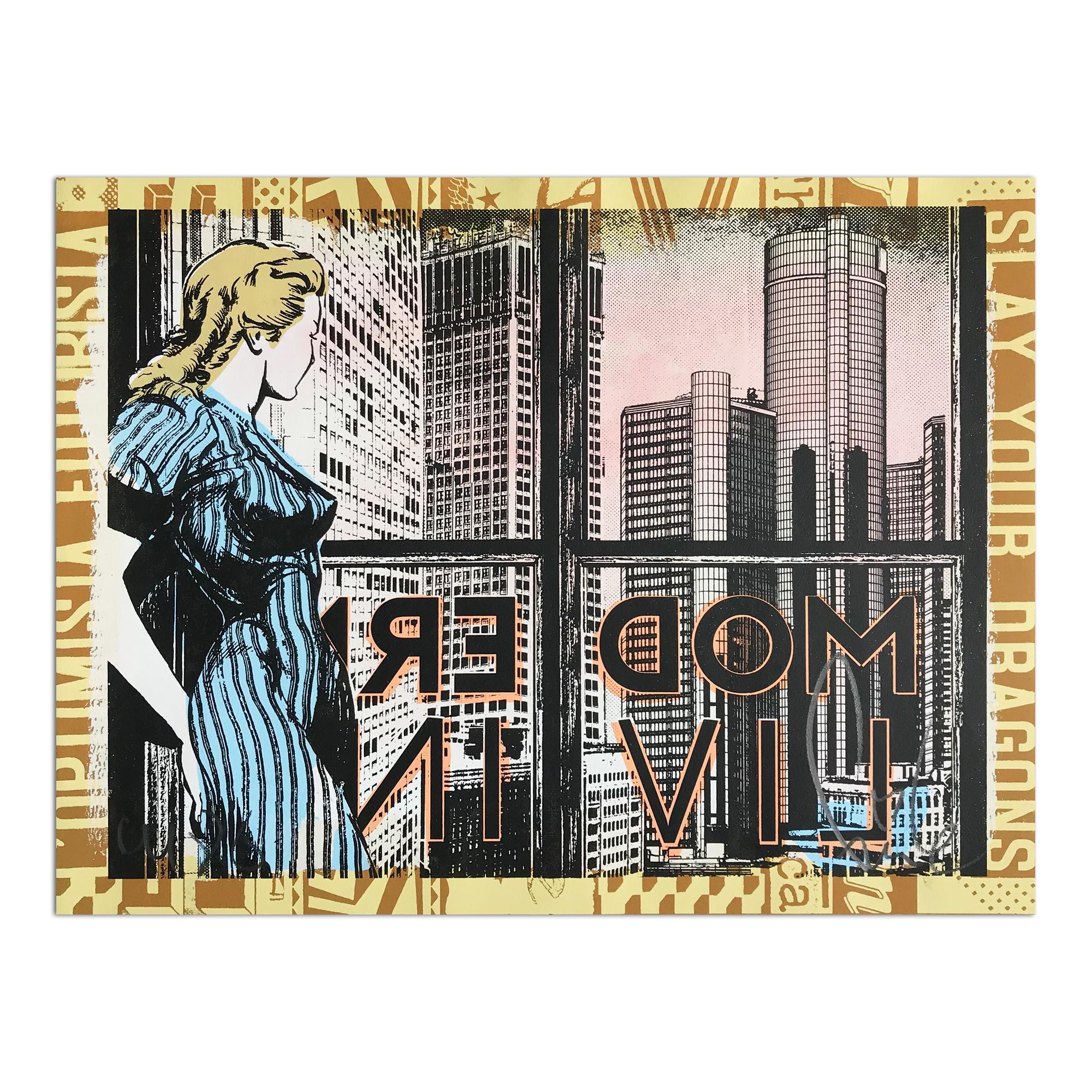 Modern Living, Hand-painted Screen Print, Street Art, Urban Art, Graffiti